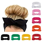 Habibee Women Headbands Turban Headwraps Hair Band Bows Accessories for Fashion Or Sport 8 pcs Headbands for Women Solid Color
