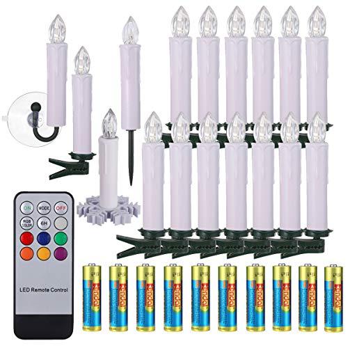 30x LED Kerzen Weihnachtskerzen RGB&Warmweiß mit Batterien Fernbedienung Timer IP64 inkl. Klammer Saugnapf Steckdrne für Auß-Innen Weihnachten Weihnachtsbaum Hochzeit Partys Deko Weihnachtsbaumkerzen