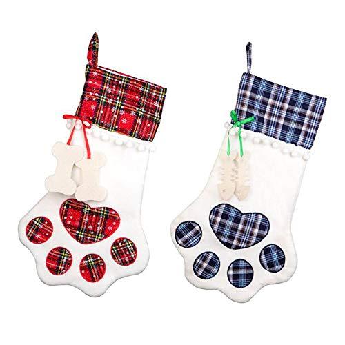 SANGDA - Medias de Navidad, 2 unidades, para mascotas, patas de Navidad, calcetines para gatos, gatos, gatos, calcetines de Navidad, calcetines personalizados para Navidad, decoraciones de árboles