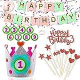 Corona de Cumpleaños, Corona de Tela Fieltro, Corona de Cumpleaños de Bebé, Decoración De La Corona, con números reemplazables 1-9, con Pancartas de'HAPPY BIRTHDAY' y Juego de Decoración para Tartas