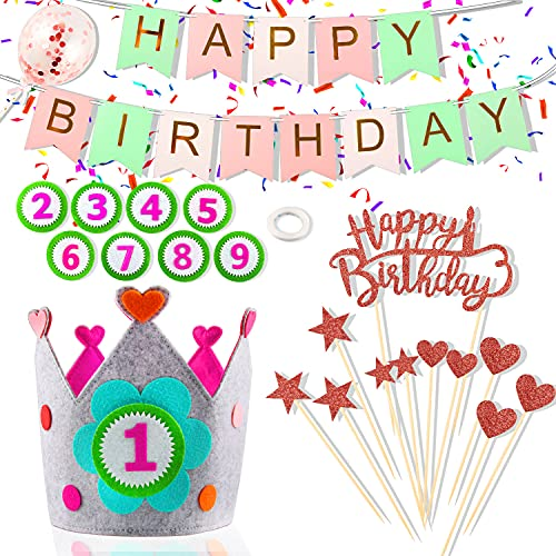 """Corona de Cumpleaños, Corona de Tela Fieltro, Corona de Cumpleaños de Bebé, Decoración De La Corona, con números reemplazables 1-9, con Pancartas de """"HAPPY BIRTHDAY"""" y Juego de Decoración para Tartas"""