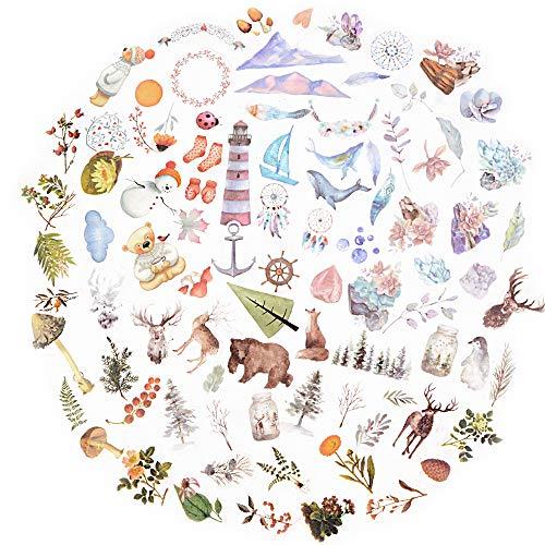 VINFUTUR 200 Pz Adesivi per Scrapbooking Stickers Journal Stickers Diario Collage Album Fai da Te Libri a Mano Calendari Decorazione