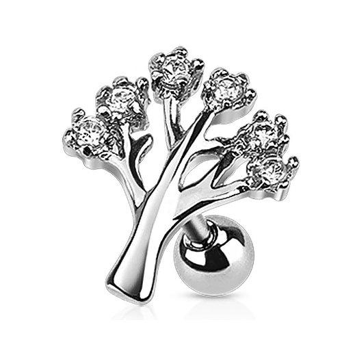 Helix piercing boom met witte steentjes
