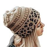 Manooby Gorros de Punto para Mujer Unisex Bufanda Sombrero Cálido de Invierno Beanie Leopardo Caliente Grueso(#02)
