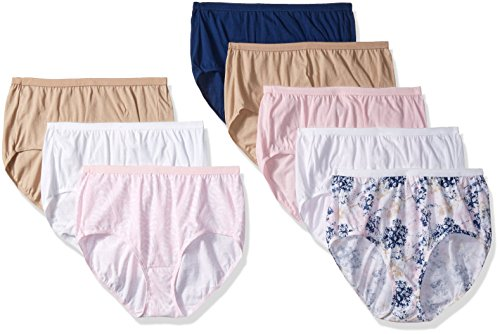 Just My Size Women's 8-Pack Cotton Brief Panty, Assorted, 10