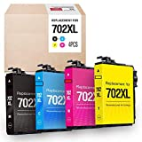 MYTONER Remanufactured Ink Cartridge Replacement for Epson 702XL 702 XL T702XL T702 ( Black,Cyan,Magenta,Yellow , 4-Pack )