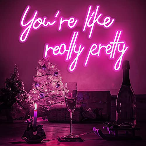 You are Like Really Pretty Neon Sign,40 inch Pink Neon Tube Decoration Light for Bachelorette Party...