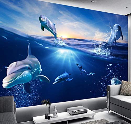 Suwhao Aangepaste 3D-cartoon-muurschildering behang zonsopgang dolfijn uit het water fotobehang voor kinderen slaapkamer tv-achtergrond huisdecoratie 280x200cm