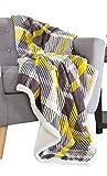 Bedford Home 61A-01652 Fleece Sherpa Blanket Throw-Plaid Yellow/Grey