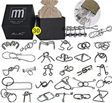 Intermediate Difficulty -30 Pieces Thicker Metal Wire Brain Teaser - Assembly & Disentanglement Puzzles Toys - Magic Trick Toys Puzzles Set - Ideal Gifts Kids Adults