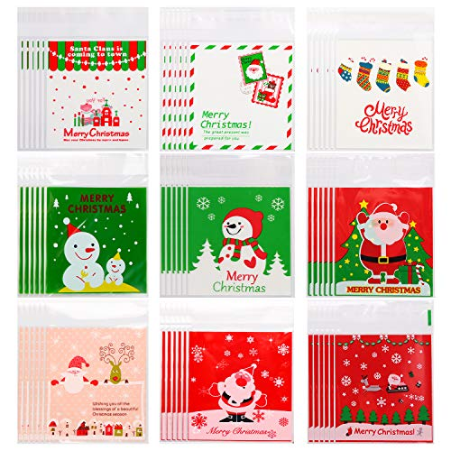 300pcs Christmas Cellophane Bags Christmas Candy Bags Holiday Clear Treat Bags Self-adhesive Candy Cookie Bags Gift Cello Bags (Color Set 1)