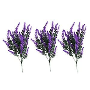 EXCEART 3pcs Artificial Flower Fake Lavender Plant Flocked Plastic Flower Wedding Bouquet Long Stem Silk Greenery Floral Pick Real Touch Faux Shrub Bushes for Home Garden Kitchen