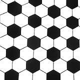 0,5m Stoff Fußball Sechseck schwarz-weiß Baumwolle