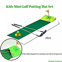 Image: Paradise Treasures Kids Golf Set - Putting Mat Indoor and Outdoor Mini Golf for Children | 2 Metal Golf Clubs, 4 Golf Balls, Golf Flag, and Green
