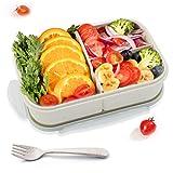 GothicBride Lunch Box Grano Naturale con 3 Scomparti Ideale Porta Pranzo per Bambini e Adulti (e forchetta Inclusi)