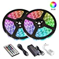 LED Strip Lights, Attuosun 32.8ft/10M RGB Rope Lights 300Leds Waterproof Flexible Tape Lights, Color Changing Self-Adhesive Led Strips Kit with 44Key IR Remote Controller 12V Power Supply, for Home