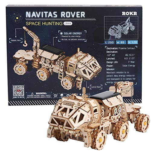 ROKR 3D Wooden Puzzle Solar Power Toy STEM Project (NAVITAS Rover)