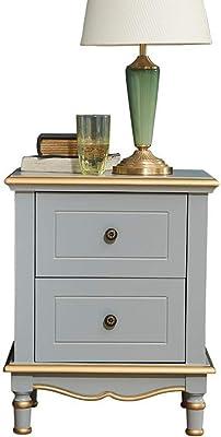 LIZANAN Nightstands Rustic Nightstand Solid Wood Bedroom Furniture Bedside Storage Cabinet Simple Bedside Table Single Bedside Table Corner Table (Color : Gray, Size : 60x38x49cm)