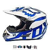 Casco Moto niño,Casco Motocross niño Moto Set con Gafas/Máscara/Guantes Casco Motocross (6unidades) Apto para Cuatro Estaciones (55-56CM)