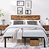 YAHEETECH Platform Metal Bed Frame Mattress Foundation with Country Rustic Wooden Headboard and Under Bed Storage No Box Spring Needed Strong Slat Support Queen Size