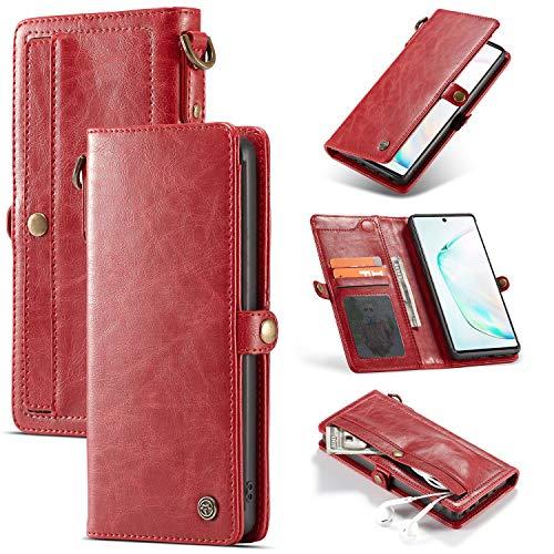 JOMA-E Shop Caseme Galaxy Note10 Plus - Funda de piel tipo cartera con 3 ranuras para tarjetas y cremallera, cierre magnético, funda protectora extraíble para Samsung Galaxy Note 10 Plus (rojo)