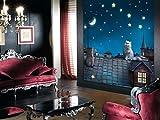 AG Design FTL 1626  Katze auf dem Dach, Papier Fototapete - 180x202 cm - 2 teile, Papier, multicolor, 0,1 x 180 x 202 cm