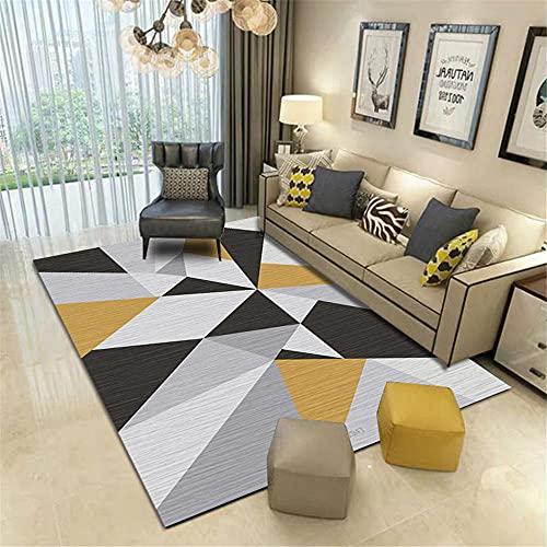 Alfombras alfonbras de Salon Amarillo Negro Gris patrón geométrico Sala de Estar...