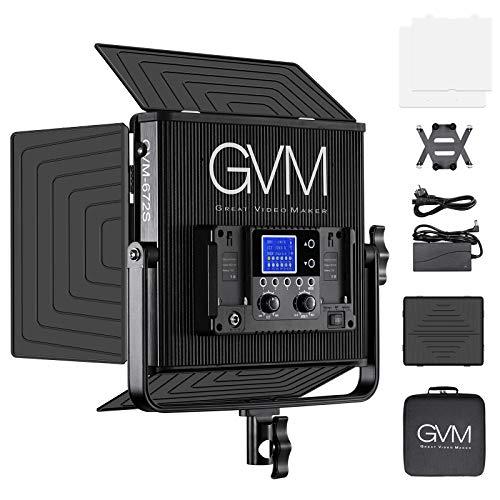 GVM LED Videoleuchte CRI97 + 22000lux 672 LED Dimmbar LED Videolicht Studiolicht 3200K-5600K mit Scheunentor für YouTube Studio Fotografie,Video Beleuchtung Set