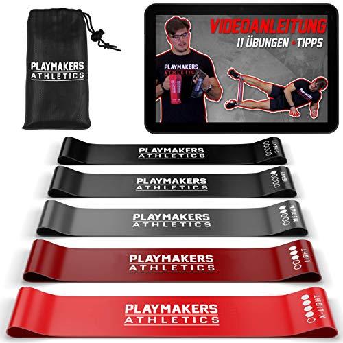 Playmakers Resistance Bands 5er Set | elastisches Fitness Band aus Naturlatex | Loop Band 5 Stufen | Widerstandsbänder Krafttraining mit Video Guide und Tasche