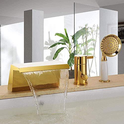 Wasserhahn Gold Pvd 3Pcs weit verbreiteter Wasserfall Badezimmer Bad römische Badewanne Dusche Wasserhahn