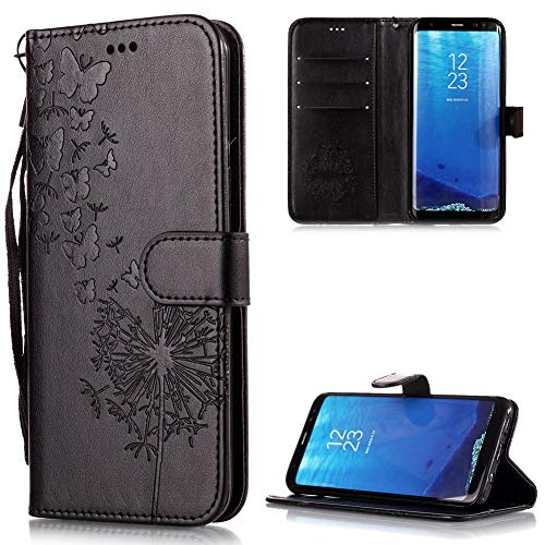 FNBK Kompatibel mit Hülle Samsung Galaxy S8 Plus Hülle Leder Schwarz Löwenzahn Blumen Handyhülle Leder Flip Wallet Cover Tasche Stand Hülle Card Slot Magnetverschluß Kratzfestes Schutzhülle