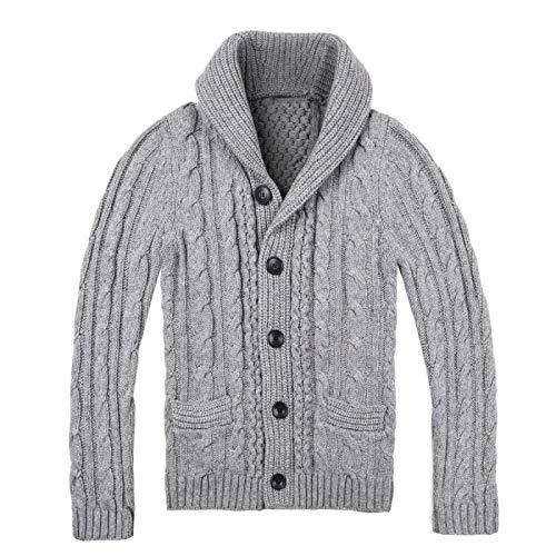 Jersey de Cuello Vuelto para Hombre, Chaqueta de Punto, Color sólido, Tejido Trenzado, Grueso, Otoño Invierno, cálido, clásico, Informal Large