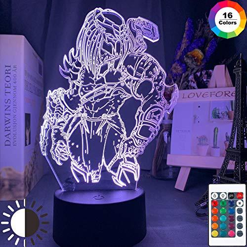 Lámpara De Ilusión 3D Luz De Noche Led Predator Figura Colorida Para Niños Niños Niños Dormitorio Decorativo Cool Lámpara De Mesa Regalo