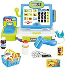 FUN LITTLE TOYS Cash Register for Kids with Electronic Sound, Mircophone, Scanner, Play Money and Play Food, Pretend Play Toys for Boys & Girls Gifts