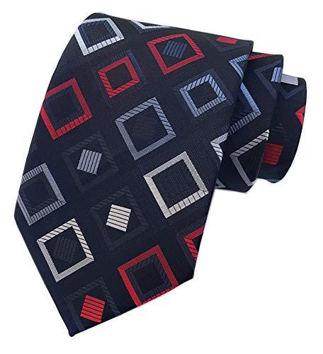 Men Stripe Check Jacquard Woven Silk Tie Summer Purple White Blue Formal Necktie Diamond Patterned Silk Tie