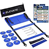 Agility Ladder Set with Cones - Perfect for Soccer Training Equipment, Football Gear, Fitness Equipment, Basketball | Speed Ladder Workout Gear Includes(Ladder, 8 Cones, Carry Bag, Drill Chart, Hooks)