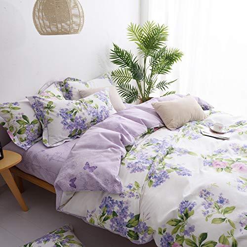 Yaonuli beddengoedset, 4-delig, katoen, tweepersoonsbed, 1,8 m, 3-delig, pruimenbloesem, violet
