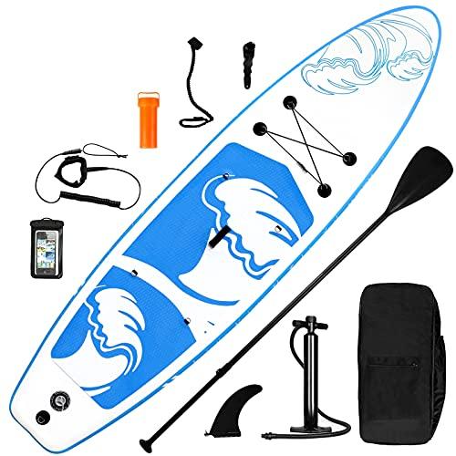 inty Aufblasbares Stand Up Paddle Board ISUP Surf Board 6 Zoll Dick Komplett-Set SUP Board, Hochdruck-Pumpe,Paddel, Rucksack, Reparaturset (Bianco Blu 335cm)