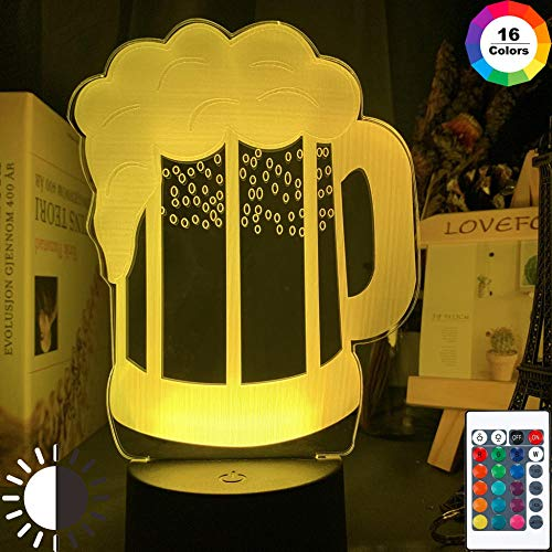 LED-nachtlampjes 3D illusie nachtkastje lamp bierglas bar decoratie licht 16 kleuren touch tafellamp cadeau licht