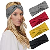 DRESHOW 4 Pack Cross Headbands Vintage Head Wrap Stretchy Hair Bands Twisted Cute Hair Accessories