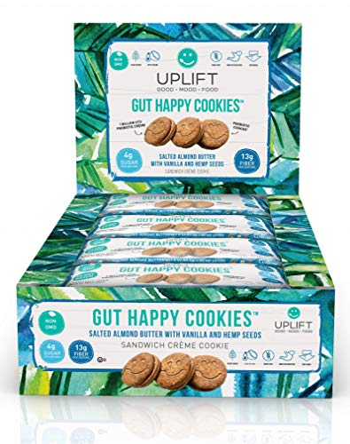 Gut Happy Cookies, Natural, Plant Based, Keto Friendly, Salted Almond Butter with Vanilla & Hemp, 36 Count, Prebiotic & Probiotic, High Fiber, Low Sugar, Grain Free