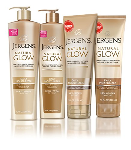 Jergens Natural Glow Sunless Tanning Lotion, Fair to Medium Skin Tone, 10 Ounce Daily Moisturizer Pump, featuring Antioxidants and Vitamin E