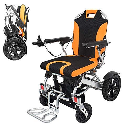 Wheelchair Silla de Ruedas eléctrica Ligera Plegable Marco de aleación de Aluminio Silla eléctrica Abierta/Plegable en 1 Segundo con Frenos de Mano y reposapiés extraíbles