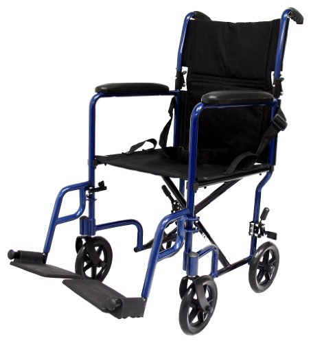 """Karman Healthcare LT-2019-BL Folding Aluminum Transport Chair with Removable Footrests, Blue, 19"""" Seat Width"""