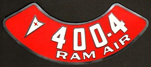 Pontiac 400-4V 4bbl RAM AIR Engine Air Cleaner Decal, Red & White on Silver For GTO, Firebird And Any Pontiac with that engine
