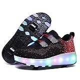 Zapatillas con Ruedas,Niños Niña LED Luces Zapatos 7 Colores Luminosas Flash Zapatos de Roller Doble Rueda Patines Zapatos de Skateboard con USB Carga Black,32