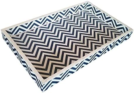 Amazon.com: Heathertique Bone Inlay Furniture - Geometric Striped Chevron  Modern Decorative Tray (Blue): Home & Kitchen