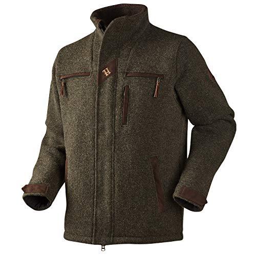 Harkila gebreide wollen jas voor jagers Fenris Willow Green - jachtjas van Woolmark® wol met echt lederen details - stille jas voor vrije tijd en jacht