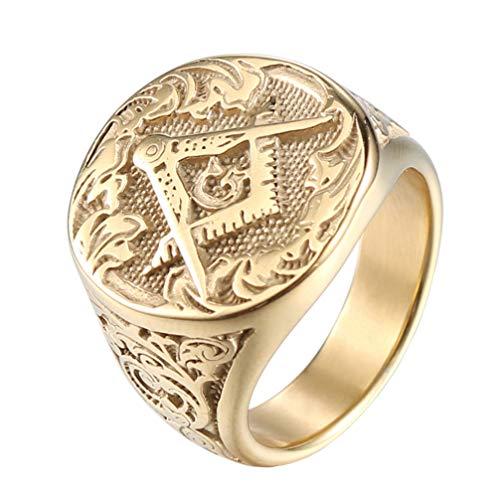 IFUAQZ Men's Masonic Freemason Gold Plated Stainless Steel Rings Classic Master Mason Signet Band Jewelry Size 10