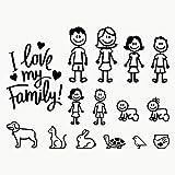Autodomy Pegatinas Familia Feliz Pack de 15 Adhesivos Calcomanias Stickers para Coche (Negro)
